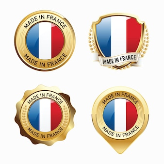 Set of made in france badges
