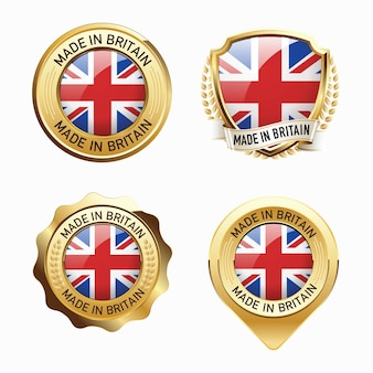 Set of made in great britain badges