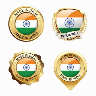 Set of made in india badges