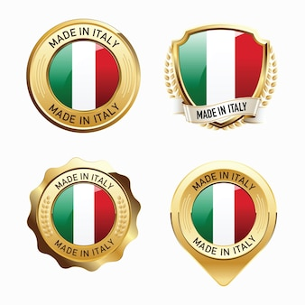 Set of made in italy badges