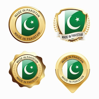 Set of made in pakistan badges