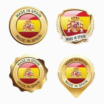 Set of made in spain badges