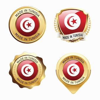 Set of made in tunisia badges