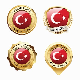Set of made in turkey badges