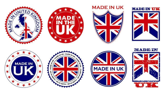 Set of made in united kingdom label for retail product or fabric items