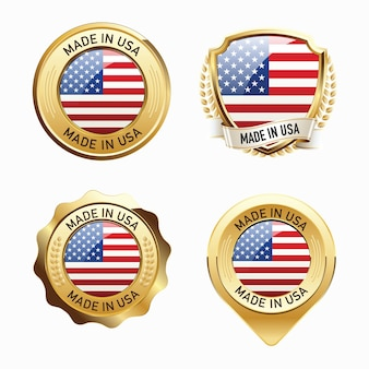 Set of made in usa badges