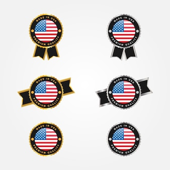Set made in usa emblem badge label template