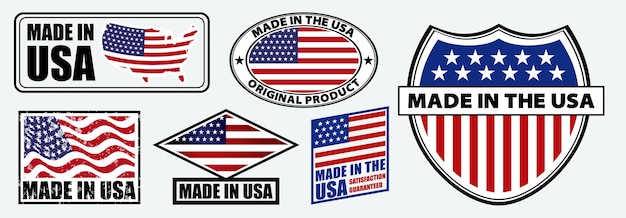 Set of made in usa label for retail product or fabric items