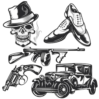 Set of mafia elements for creating your own badges, logos, labels, posters etc.