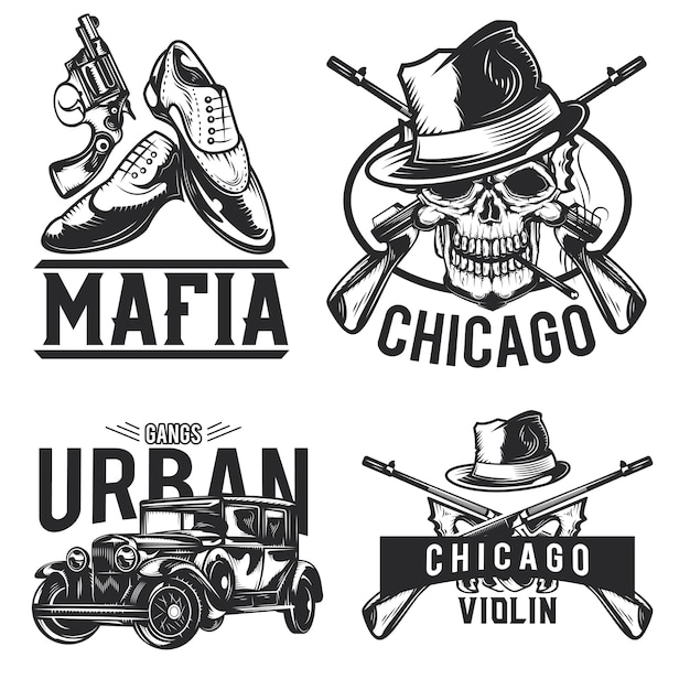 Set of mafia emblems, labels, badges, logos. isolated on white