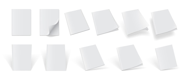 Set of magazine covers from different sides on a white background