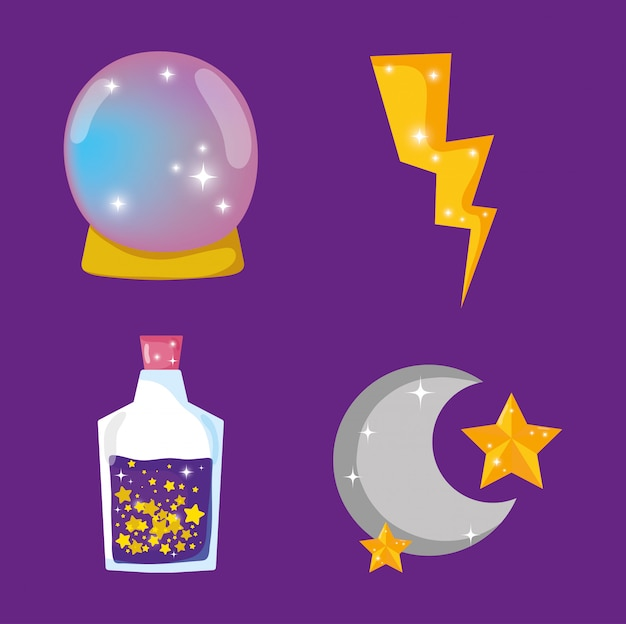 Set magic crystal ball with potion and moon