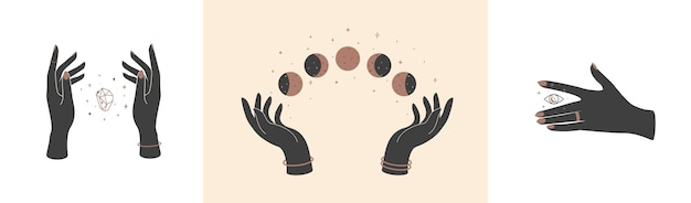 Set of magic hands with celestial mystical symbols vector elements crystal eye and moon phases