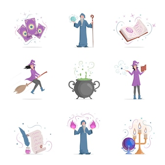Set of magic items vector flat illustration isolated on white