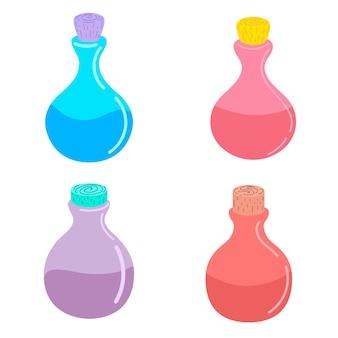 Set of  magic potion. vector illustration.