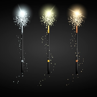 Set of magic wands. gold silver and bronze wands.  illustration