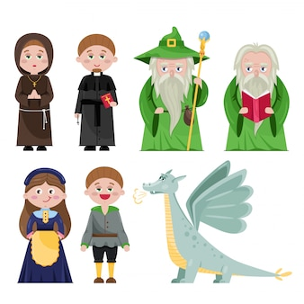 Set of magical characters