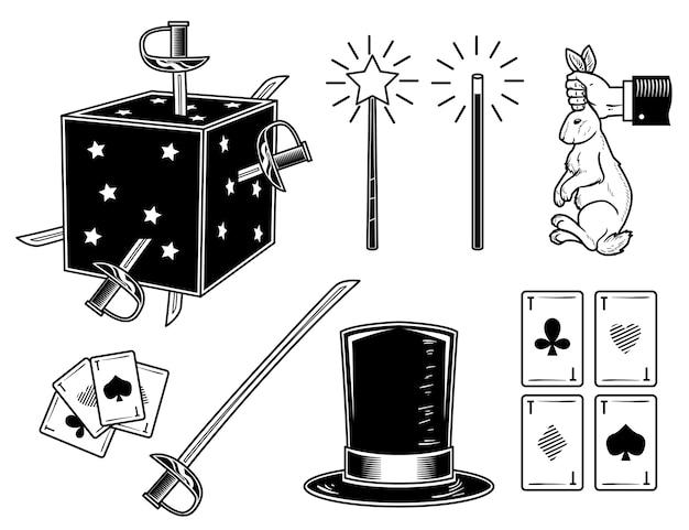 Set of magical elements
