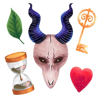 A set of magical illustrations in procreate witch items, a mask with horns from a goat's skull, a key, a leaf, a heart, an hourglass, scary