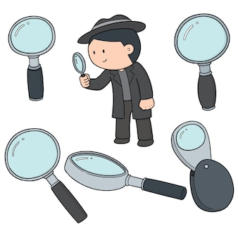 Set of magnifying glass