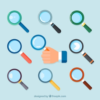 Set of magnifying glasses in flat style