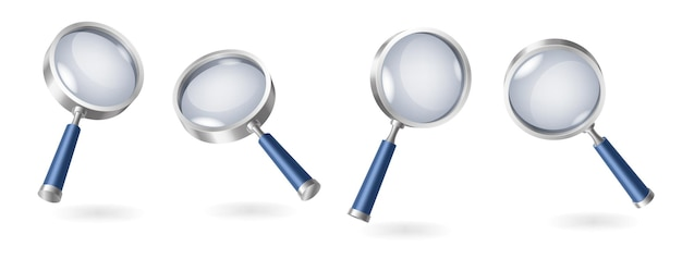 Set of magnifying glasses realistic isolated on white background with shadows. 3d magnifiers collection for magnification. vector illustration