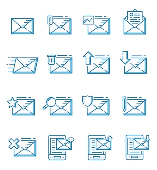 Set of mail icons with outline style