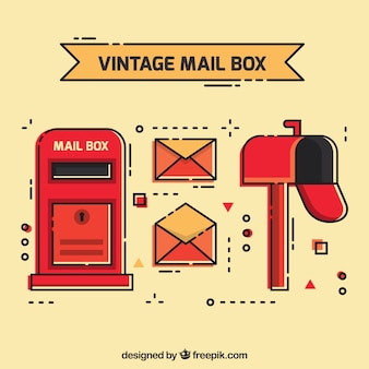 Set of mailboxes and envelopes in vintage style