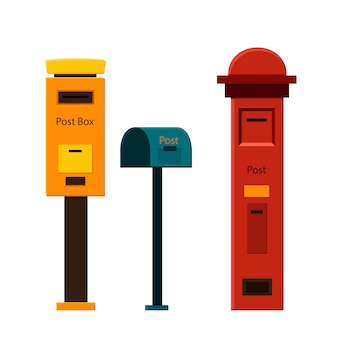 Set of mailboxes on a white background for construction and design. cartoon style.