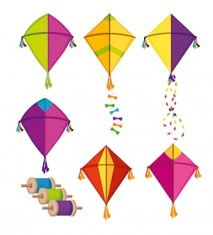 Set of makar sankranti kites