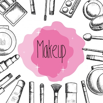 Set of make up accessories drawing