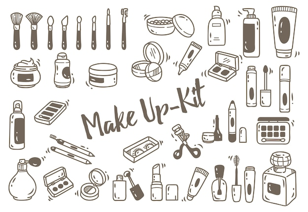 Set of make up kit in doodle style
