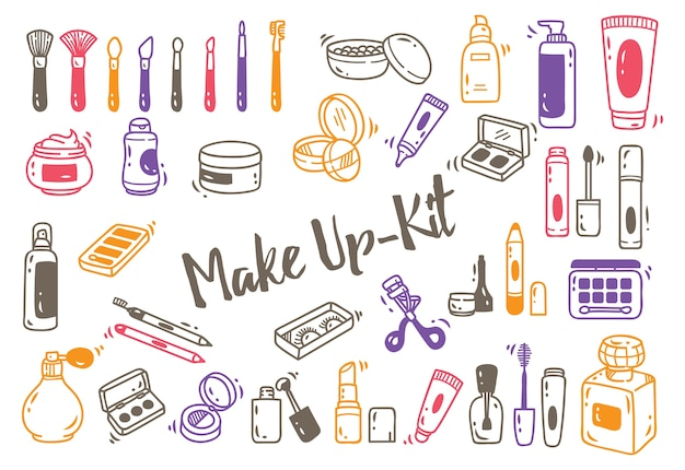 Set of make up kit doodle