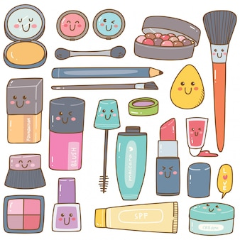 Set of make up kit kawaii doodles