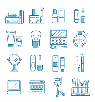 Set of makeup and cosmetic icons with outline style