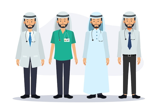 Set of male arab doctor characters. hospital worker and medical staff. flat vector cartoon character illustration.