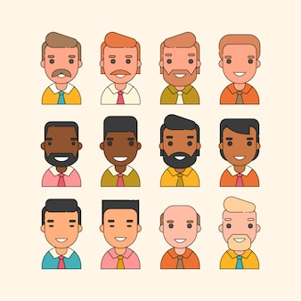 Set of male avatars in the style of flat outline