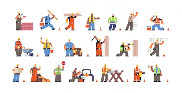 균일 한 평면 전체 길이 가로 다른 건물 활동 바쁜 건설 노동자 동안 전문 장비와 남성 빌더를 설정