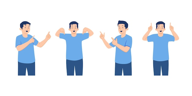 Set of male character in casual clothes pointing finger in different directions concept illustration