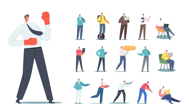 Set of male characters businessman in boxing gloves, teenager riding unicycle, man reading book, carry huge pill, gadget