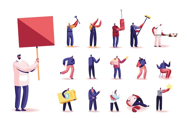 Set of male characters holding banner, builder or handyman with instrument and tools, man with broken heart, cheese