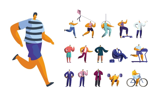 Set of male characters jogging, playing with kite, exercises, aerial gymnast and chef. men run on treadmill, businessman and pilot job, isolated on white background. cartoon people vector illustration