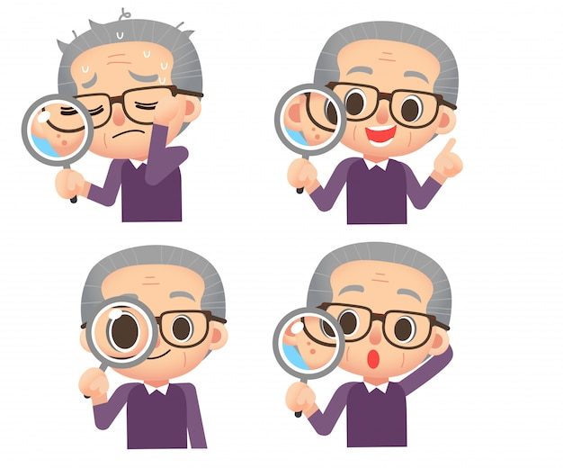 Set of male elderly character holding magnify glass