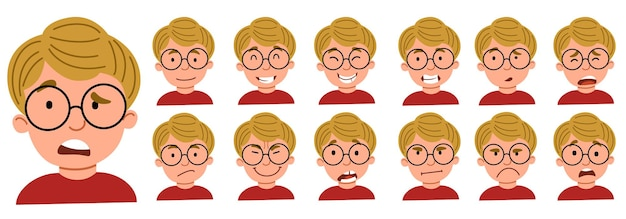 A set of male emotions. the guy with glasses is an avatar .