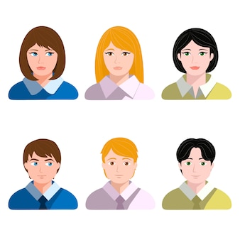 Set of male and female avatars