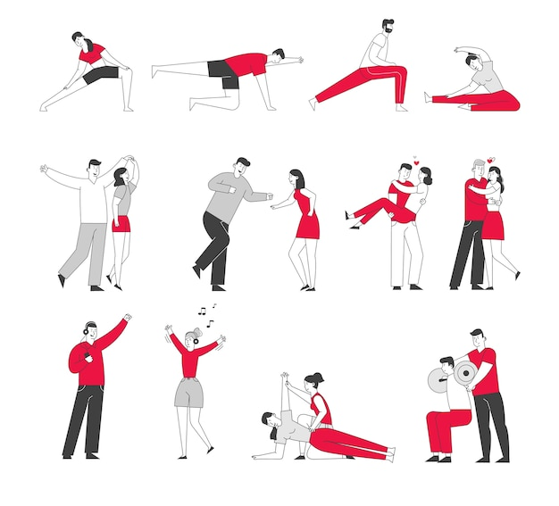 Set of male and female characters exercising in gym