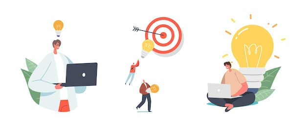 Set of male and female characters having creative idea concept. tiny people at huge glowing light bulb and target with arrow in center isolated on white background. cartoon vector illustration