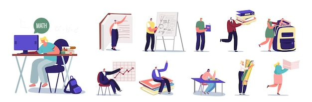 Set male and female characters learning. men and women doing homework sitting at desk, study in university or school, prepare for exam isolated on white background. cartoon people vector illustration