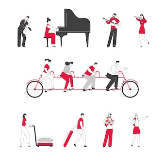 Set of male and female characters playing on musical instruments grand piano