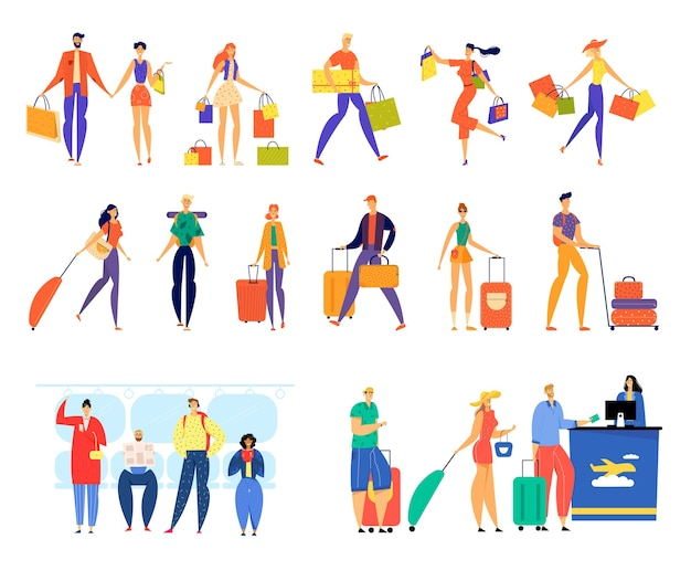 Set of male and female characters shopping, traveling with luggage, riding on metro and stand in queue for airplane registration.